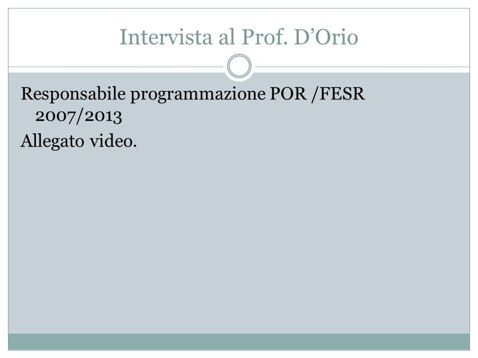Intervista al Prof. D'Orio