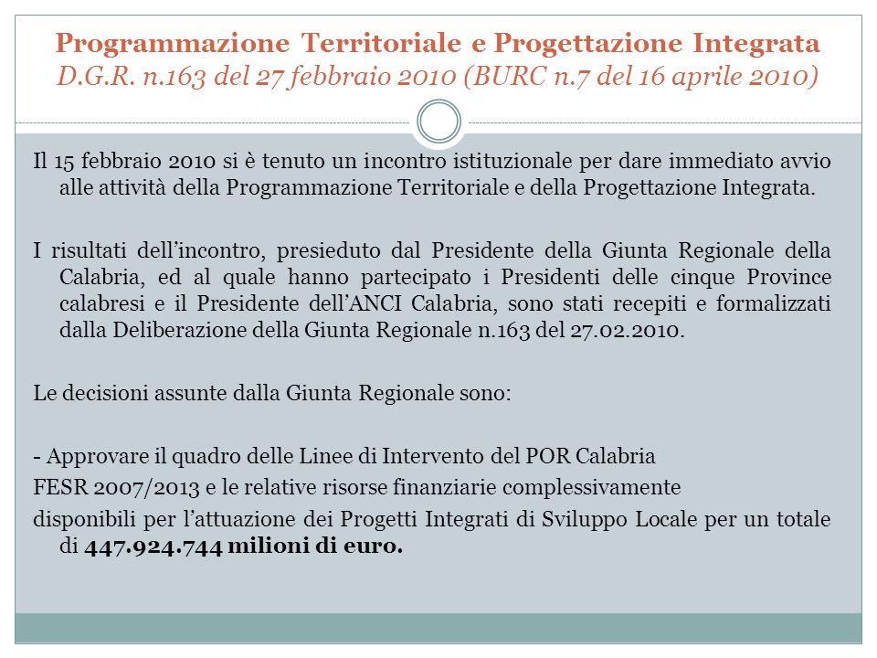 Programmazione Territoriale e Progettazione Integrata D. G. R. n