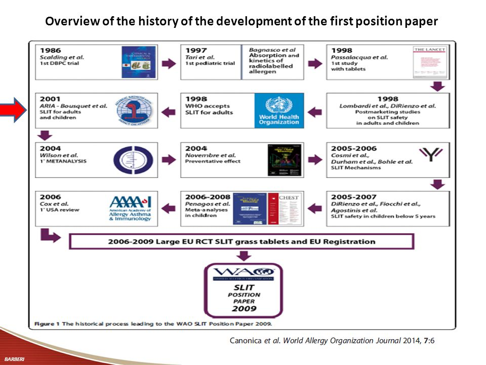 Overview of the history of the development of the first position paper