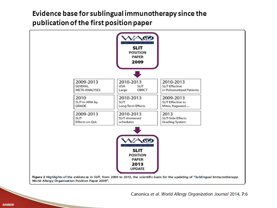 Evidence base for sublingual immunotherapy since the publication of the first position paper