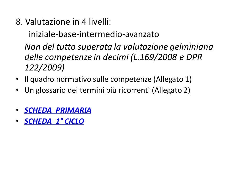 8. Valutazione in 4 livelli: iniziale-base-intermedio-avanzato