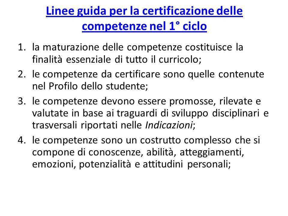 Linee guida per la certificazione delle competenze nel 1° ciclo