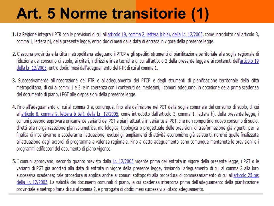 Art. 5 Norme transitorie (1)