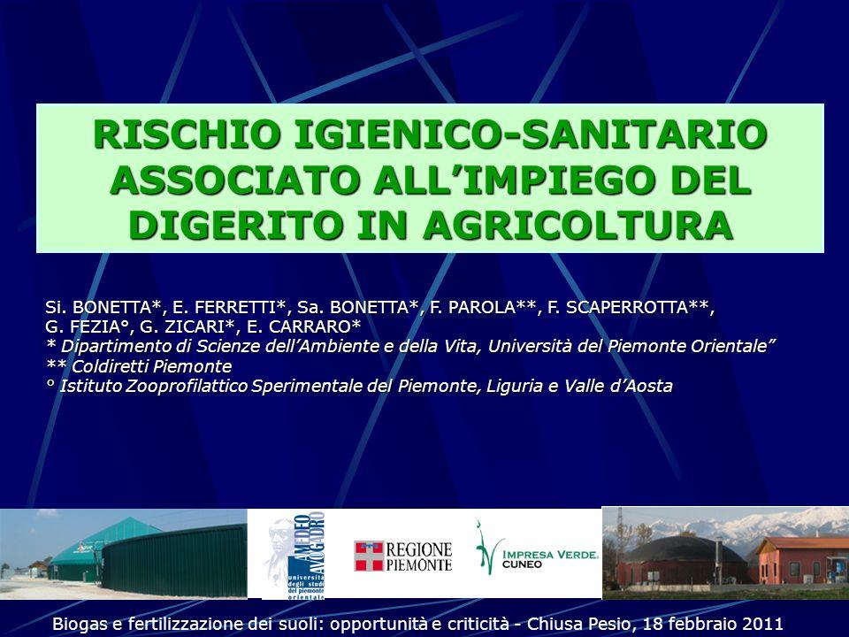 RISCHIO IGIENICO-SANITARIO ASSOCIATO ALL'IMPIEGO DEL DIGERITO IN AGRICOLTURA