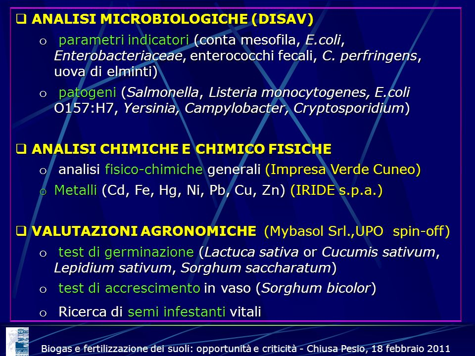 ANALISI MICROBIOLOGICHE (DISAV)