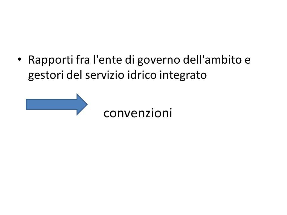 Rapporti fra l ente di governo dell ambito e gestori del servizio idrico integrato