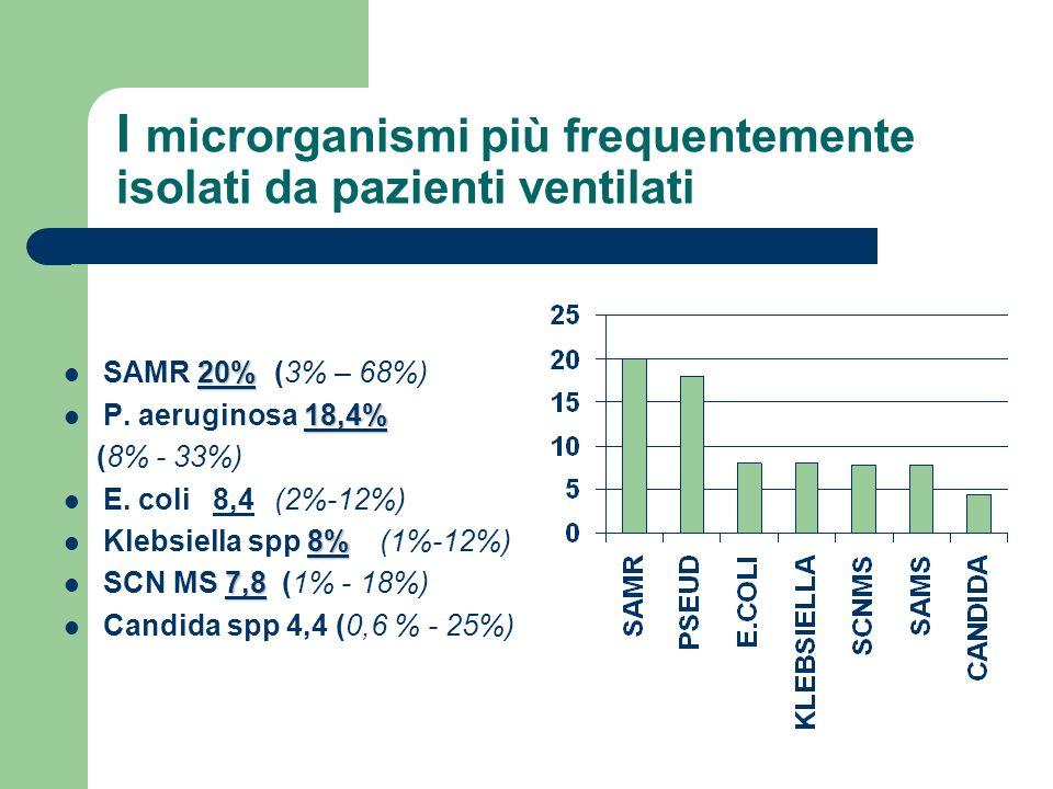 I microrganismi più frequentemente isolati da pazienti ventilati