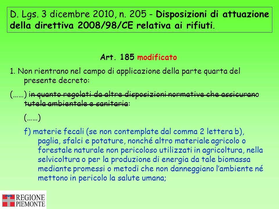 D. Lgs. 3 dicembre 2010, n. 205 - Disposizioni di attuazione della direttiva 2008/98/CE relativa ai rifiuti.