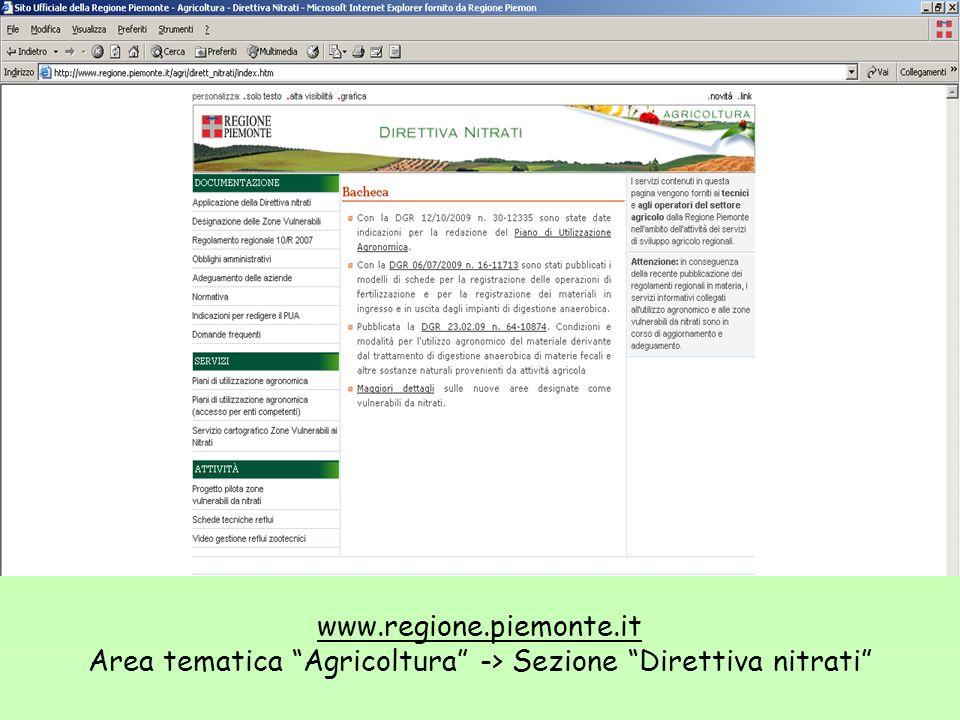Area tematica Agricoltura -> Sezione Direttiva nitrati