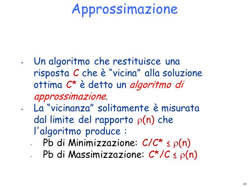 Approssimazione Un algoritmo che restituisce una risposta C che è vicina alla soluzione ottima C* è detto un algoritmo di approssimazione.