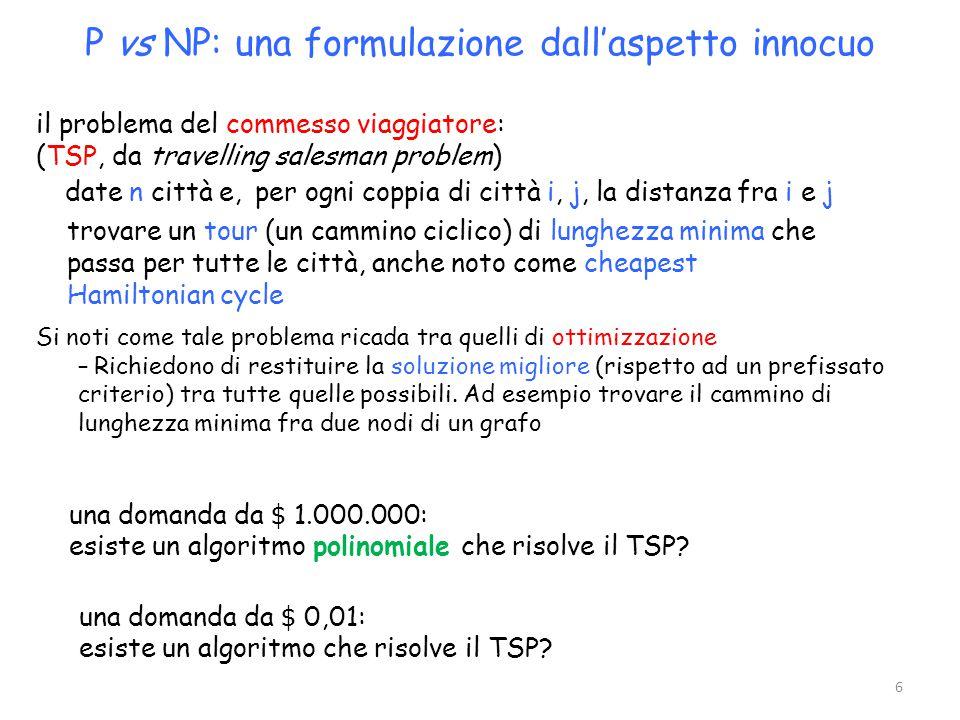 P vs NP: una formulazione dall'aspetto innocuo