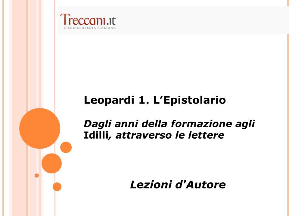 Leopardi 1. L'Epistolario
