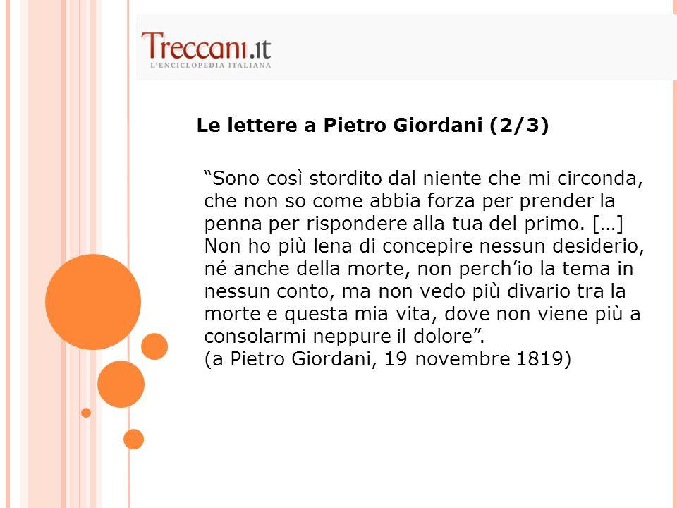 Le lettere a Pietro Giordani (2/3)