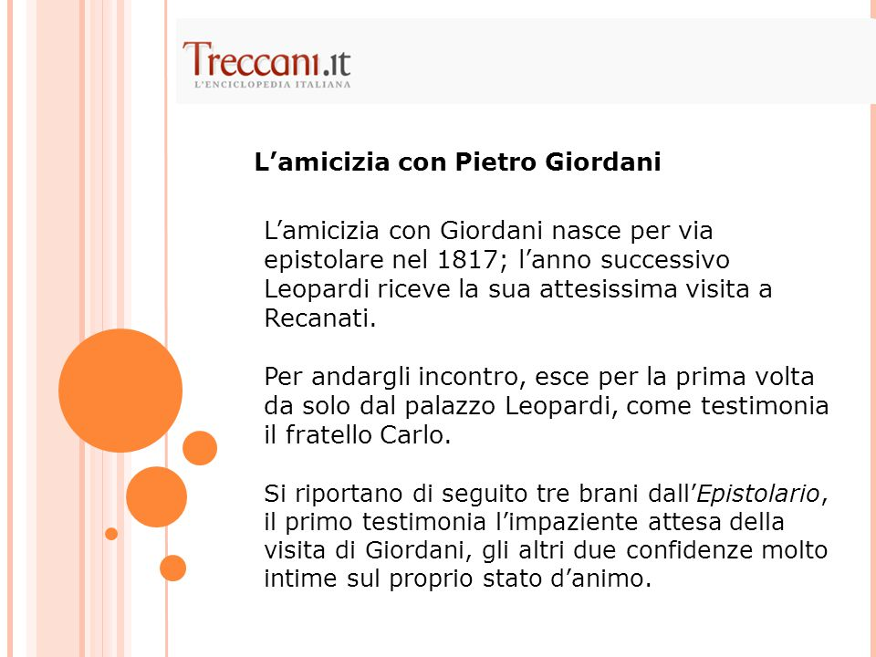 L'amicizia con Pietro Giordani