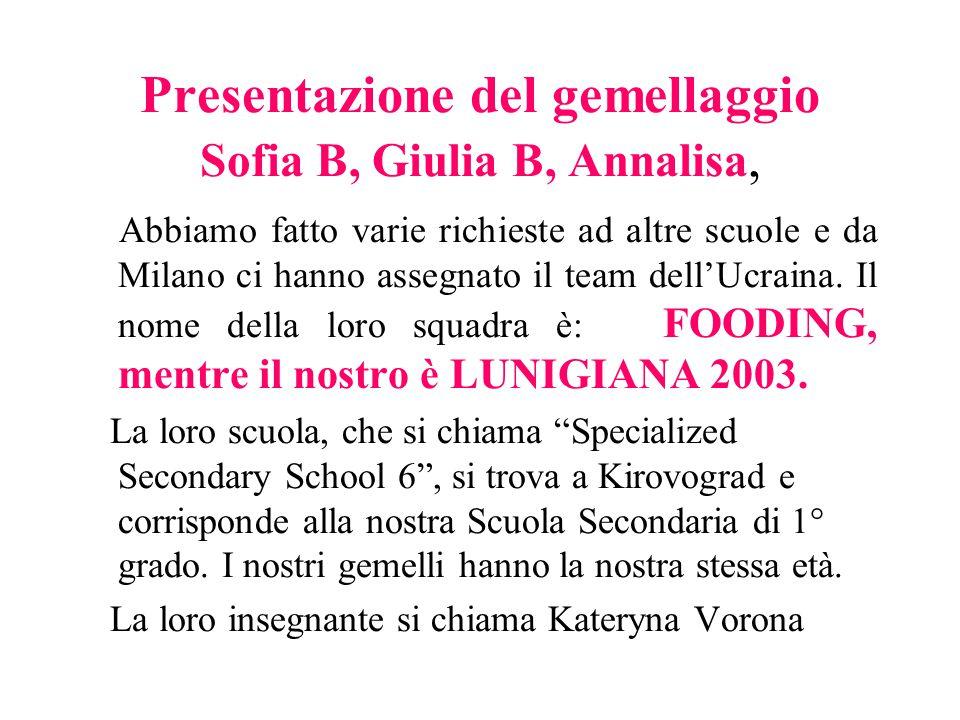 Presentazione del gemellaggio Sofia B, Giulia B, Annalisa,