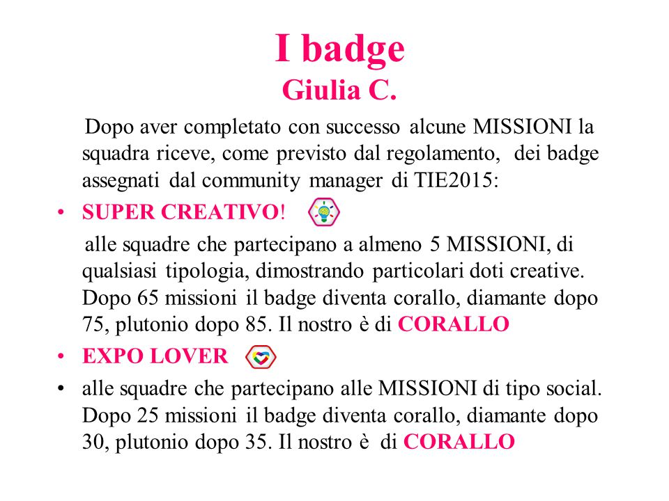 I badge Giulia C.