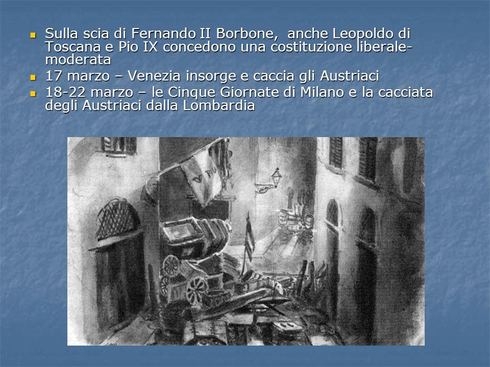 Sulla scia di Fernando II Borbone, anche Leopoldo di Toscana e Pio IX concedono una costituzione liberale-moderata