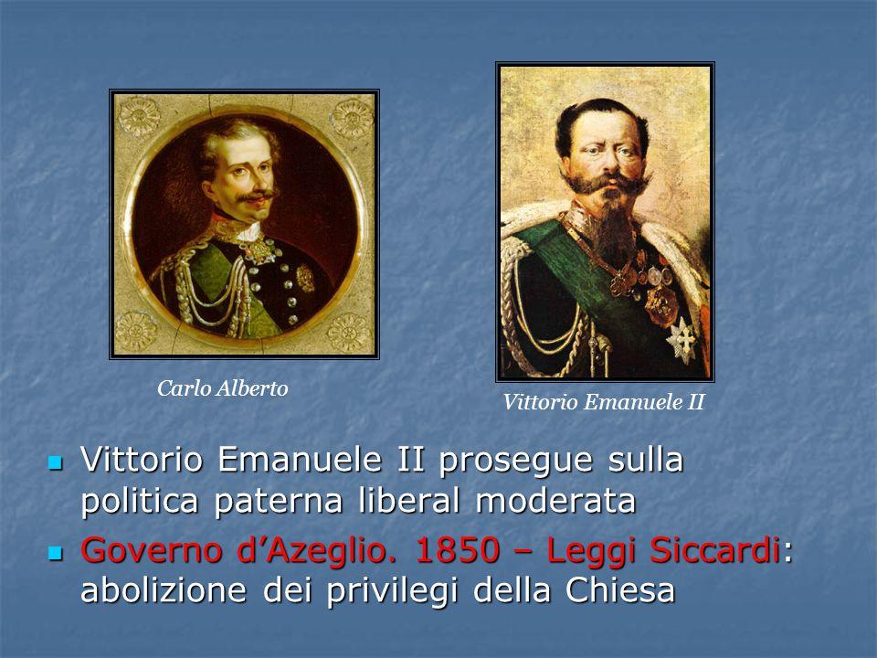 Vittorio Emanuele II prosegue sulla politica paterna liberal moderata