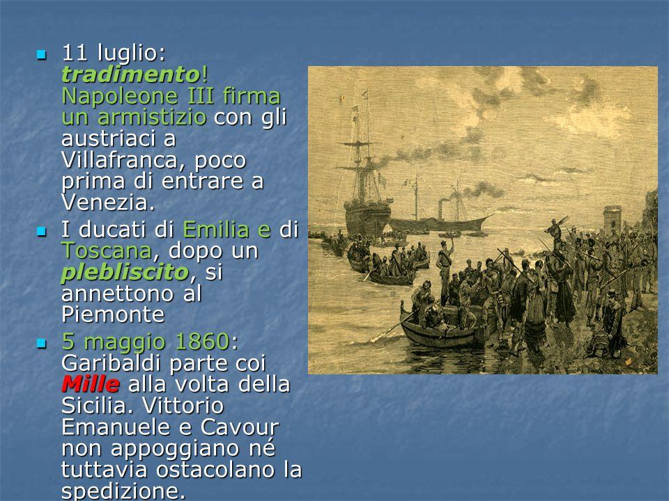 11 luglio: tradimento! Napoleone III firma un armistizio con gli austriaci a Villafranca, poco prima di entrare a Venezia.