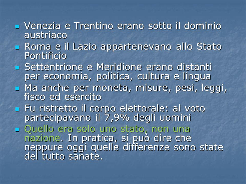 Venezia e Trentino erano sotto il dominio austriaco