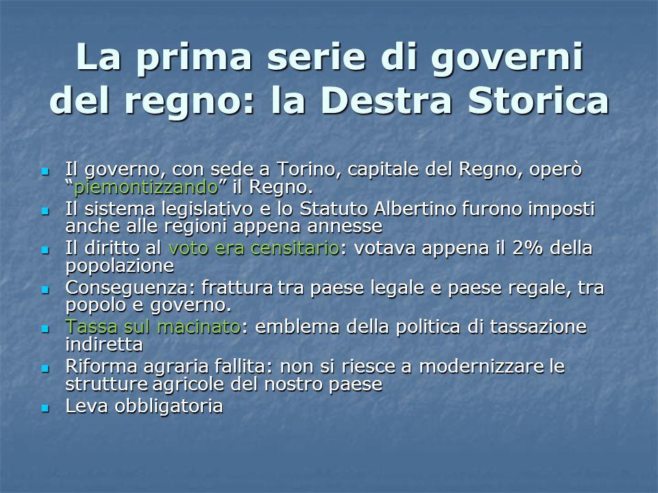 La prima serie di governi del regno: la Destra Storica
