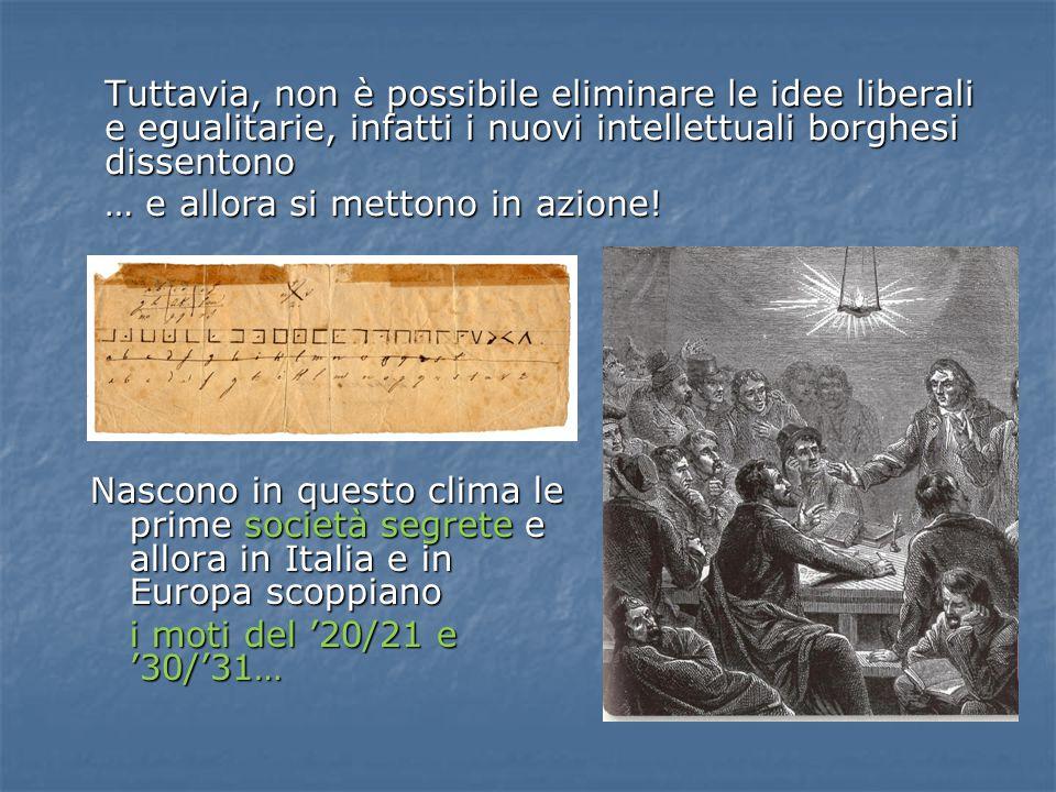 Tuttavia, non è possibile eliminare le idee liberali e egualitarie, infatti i nuovi intellettuali borghesi dissentono