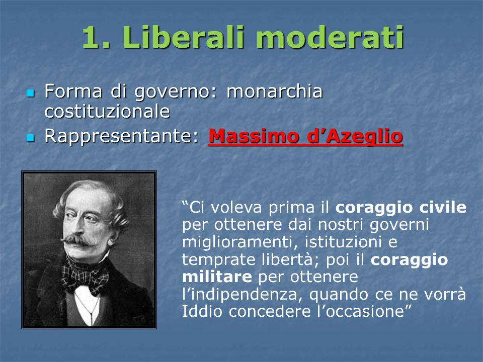 1. Liberali moderati Forma di governo: monarchia costituzionale