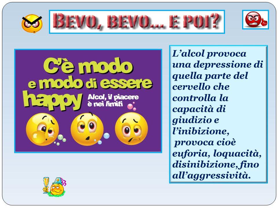 L'alcol provoca una depressione di quella parte del cervello che controlla la capacità di giudizio e l'inibizione,
