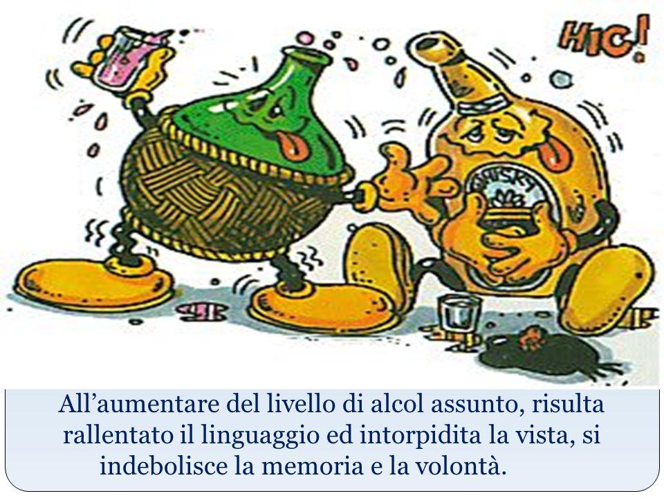 All'aumentare del livello di alcol assunto, risulta rallentato il linguaggio ed intorpidita la vista, si indebolisce la memoria e la volontà.