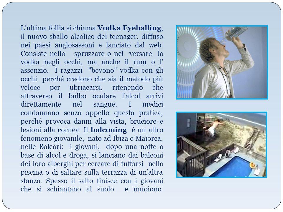L'ultima follia si chiama Vodka Eyeballing, il nuovo sballo alcolico dei teenager, diffuso nei paesi anglosassoni e lanciato dal web.