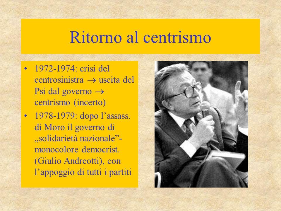 Ritorno al centrismo 1972-1974: crisi del centrosinistra  uscita del Psi dal governo  centrismo (incerto)