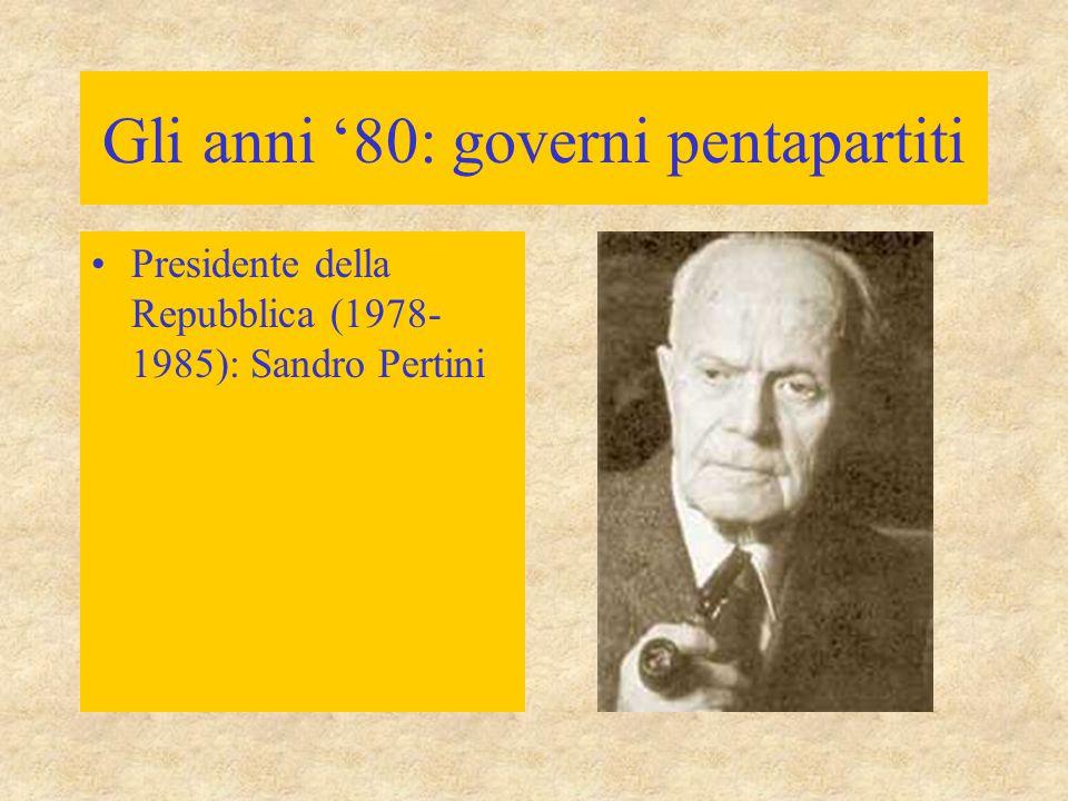 Gli anni '80: governi pentapartiti
