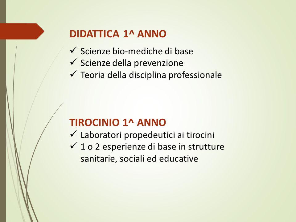 DIDATTICA 1^ ANNO TIROCINIO 1^ ANNO Scienze bio-mediche di base