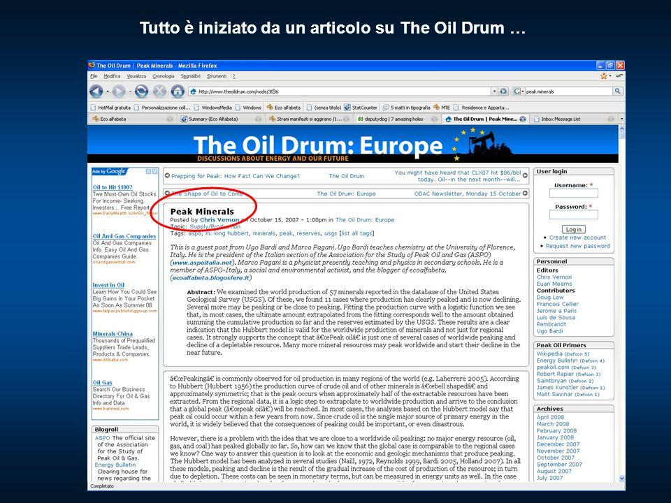 Tutto è iniziato da un articolo su The Oil Drum …