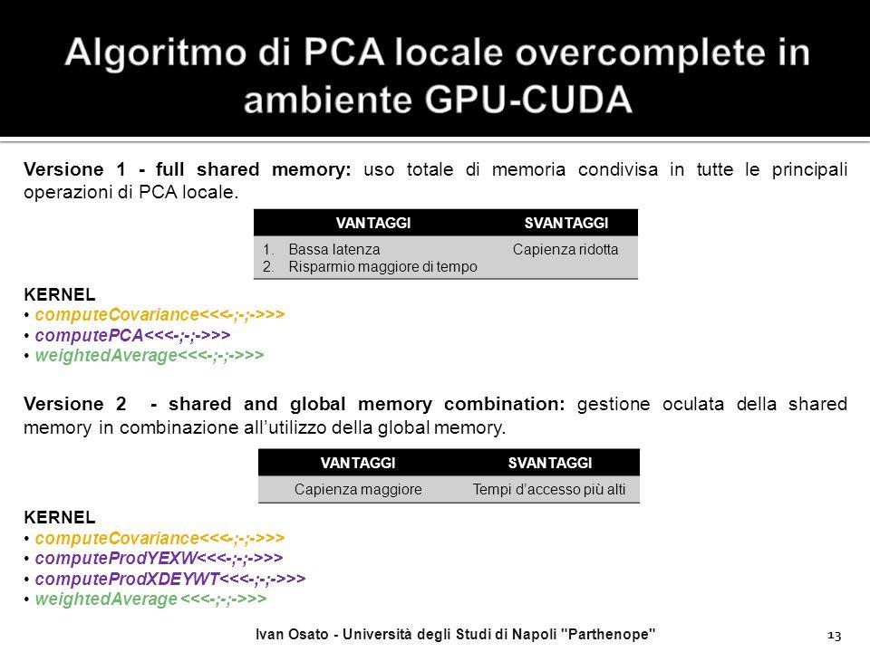 Algoritmo di PCA locale overcomplete in ambiente GPU-CUDA