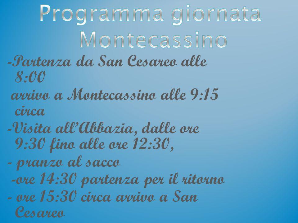 Programma giornata Montecassino