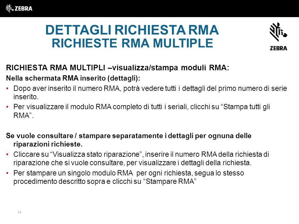 DETTAGLI RICHIESTA RMA RICHIESTE RMA MULTIPLE