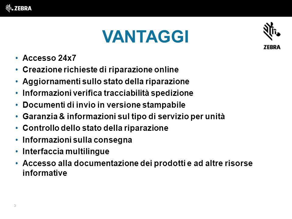 VANTAGGI Accesso 24x7 Creazione richieste di riparazione online