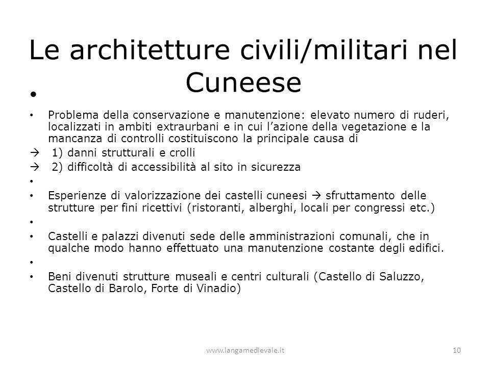 Le architetture civili/militari nel Cuneese