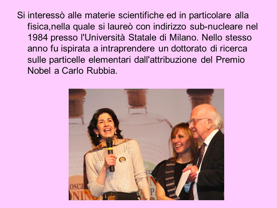 Si interessò alle materie scientifiche ed in particolare alla fisica,nella quale si laureò con indirizzo sub-nucleare nel 1984 presso l Università Statale di Milano.