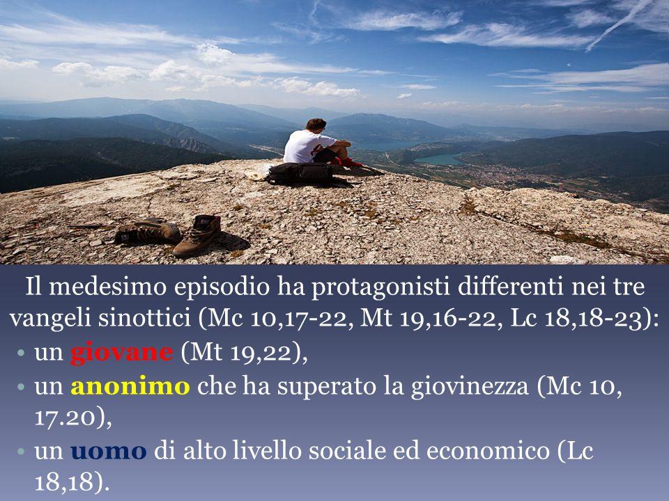 Il medesimo episodio ha protagonisti differenti nei tre vangeli sinottici (Mc 10,17-22, Mt 19,16-22, Lc 18,18-23):