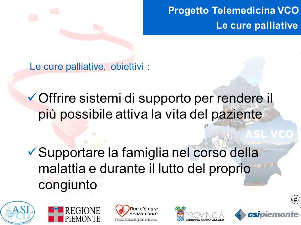 Le cure palliative Le cure palliative, obiettivi : Offrire sistemi di supporto per rendere il più possibile attiva la vita del paziente.