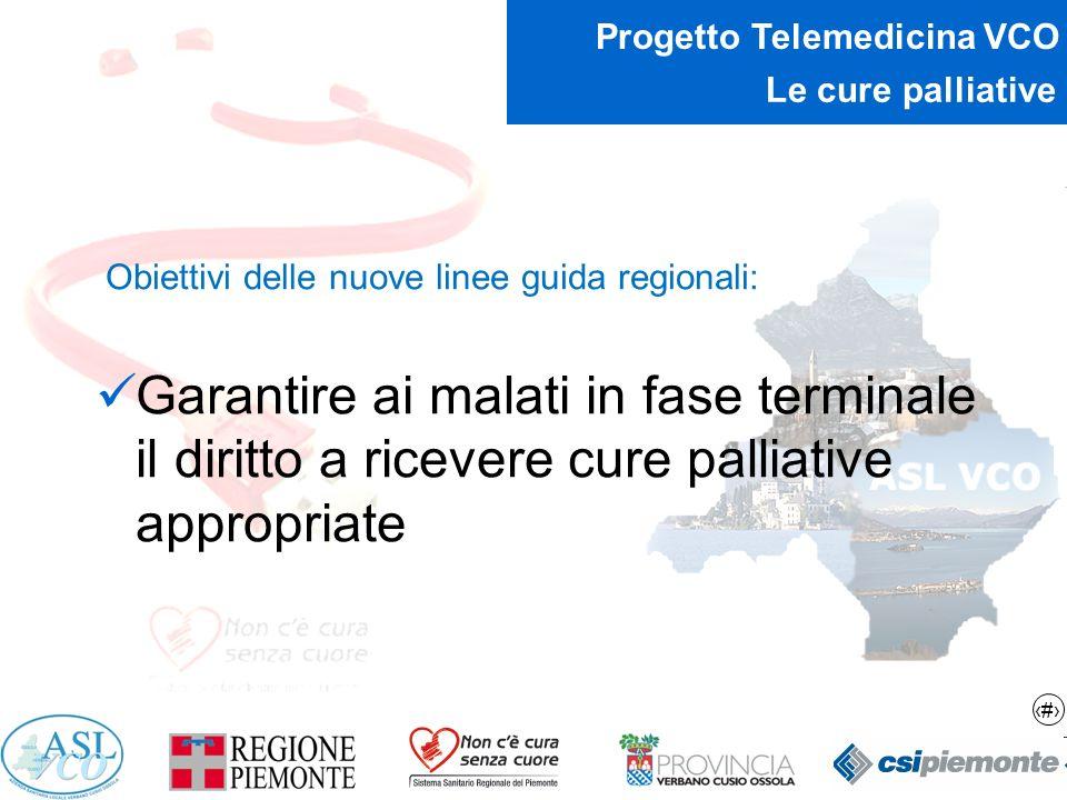 Le cure palliative Obiettivi delle nuove linee guida regionali: