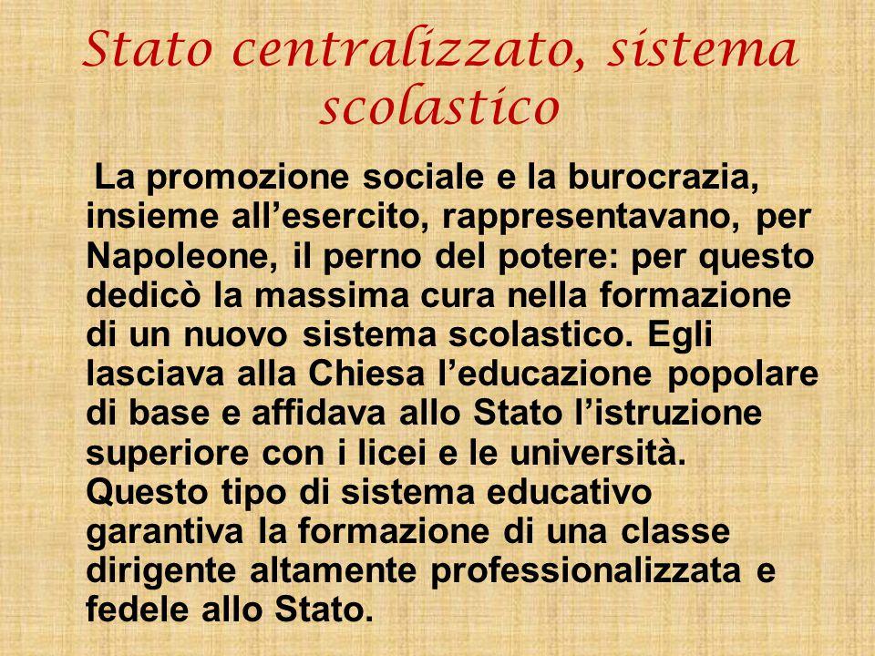 Stato centralizzato, sistema scolastico