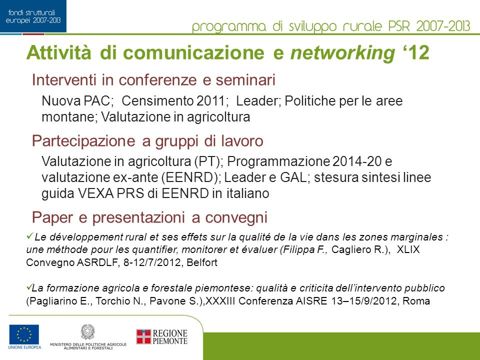 Attività di comunicazione e networking '12