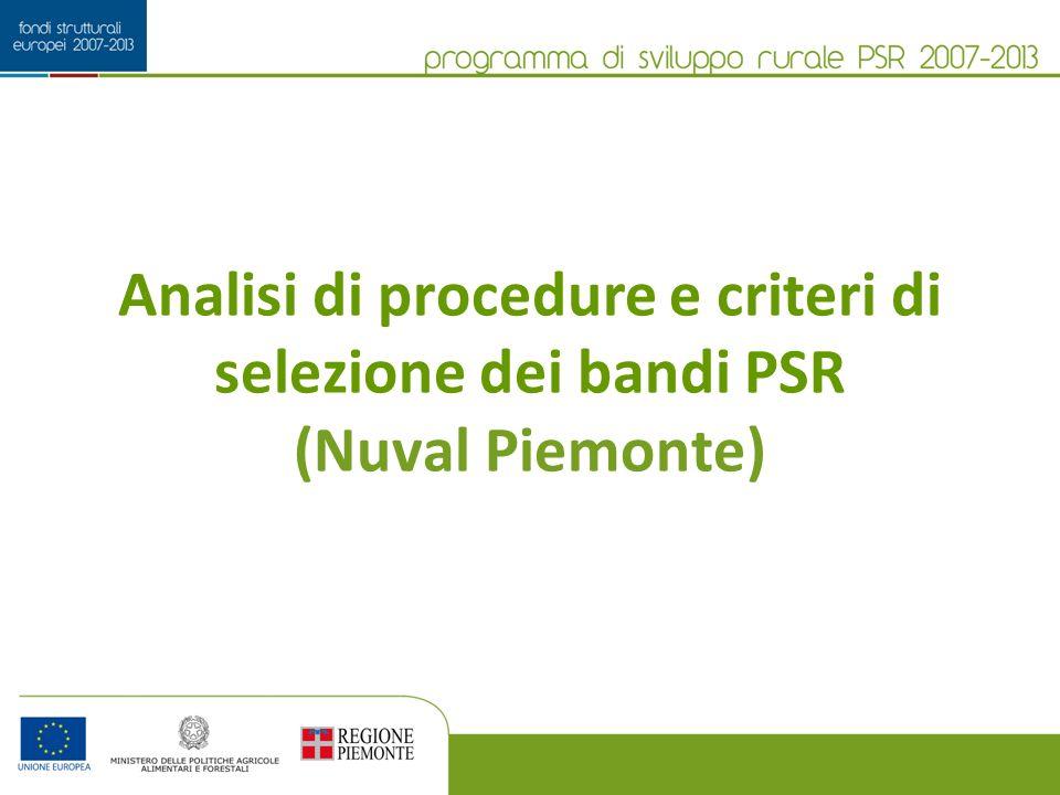 Analisi di procedure e criteri di selezione dei bandi PSR (Nuval Piemonte)