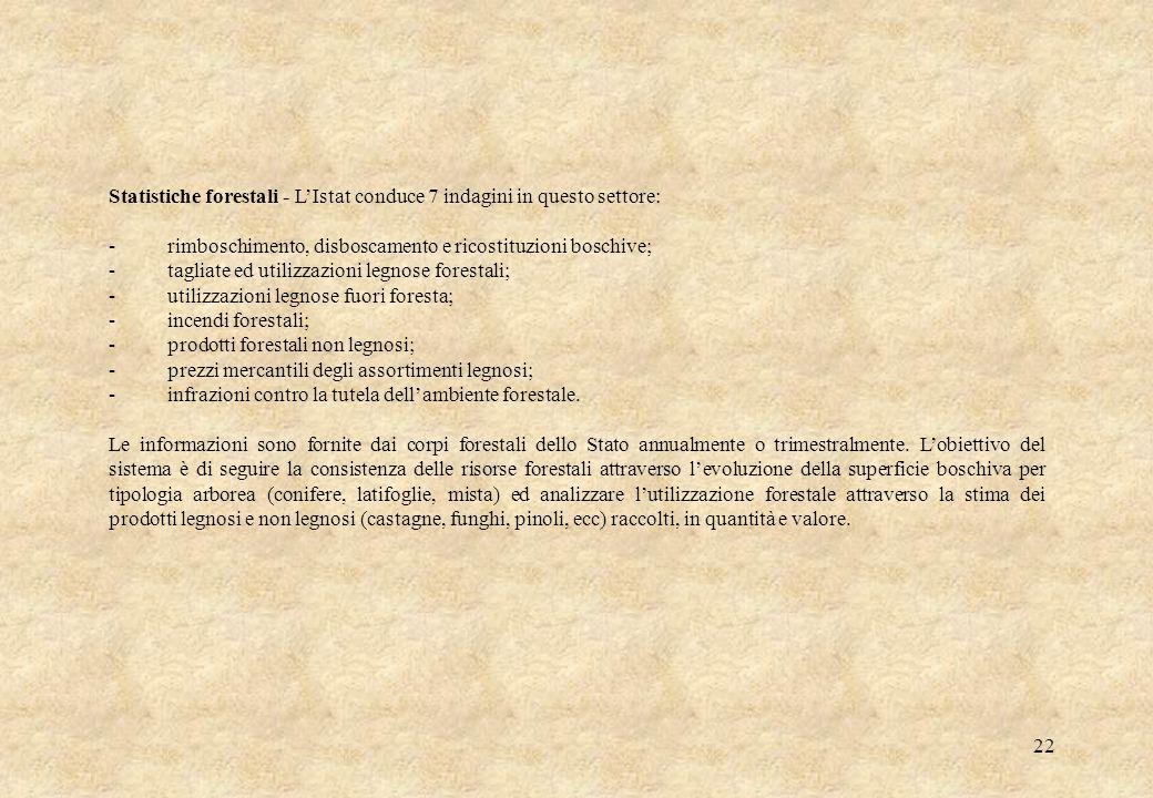 Statistiche forestali - L'Istat conduce 7 indagini in questo settore: