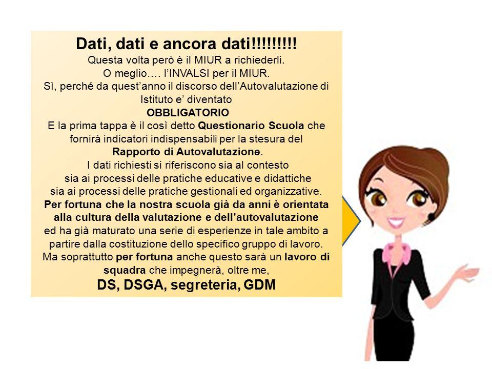 Dati, dati e ancora dati!!!!!!!!! DS, DSGA, segreteria, GDM
