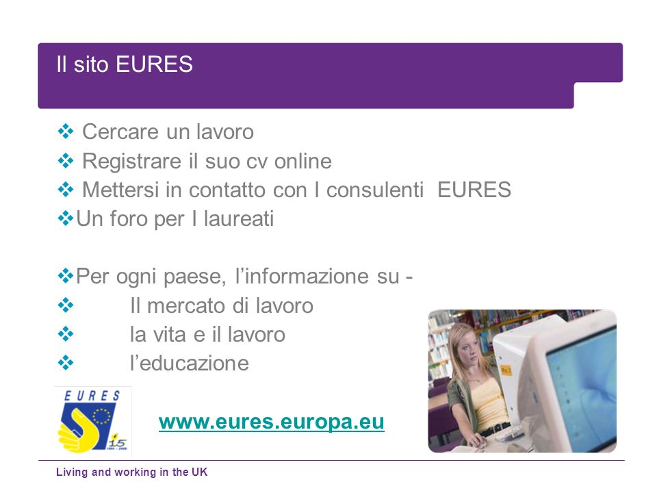 Il sito EURES Cercare un lavoro Registrare il suo cv online