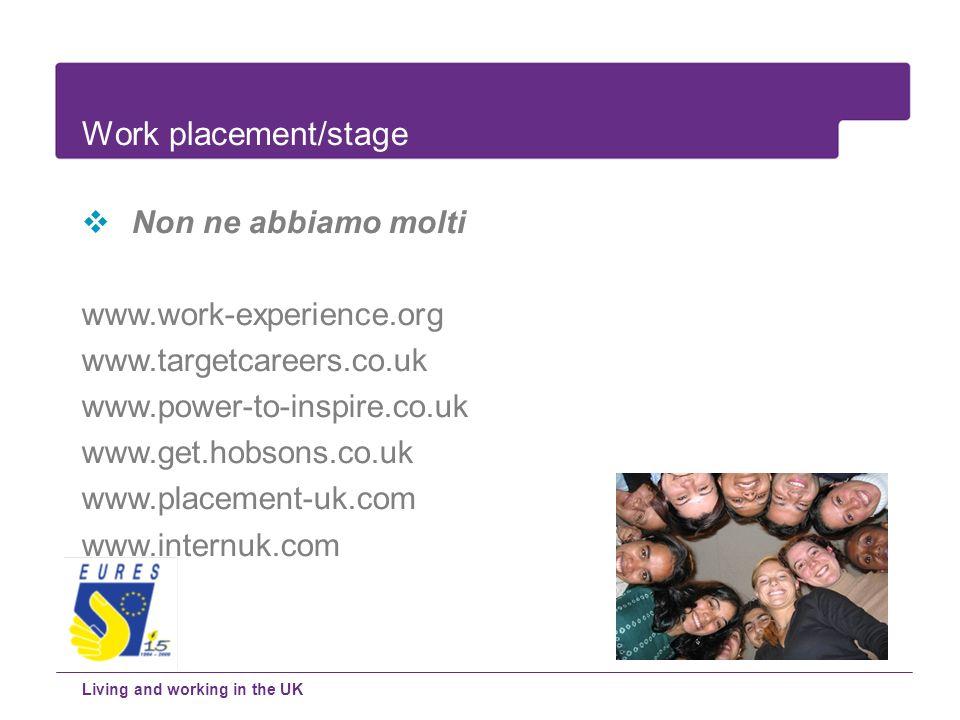 Work placement/stage Non ne abbiamo molti www.work-experience.org